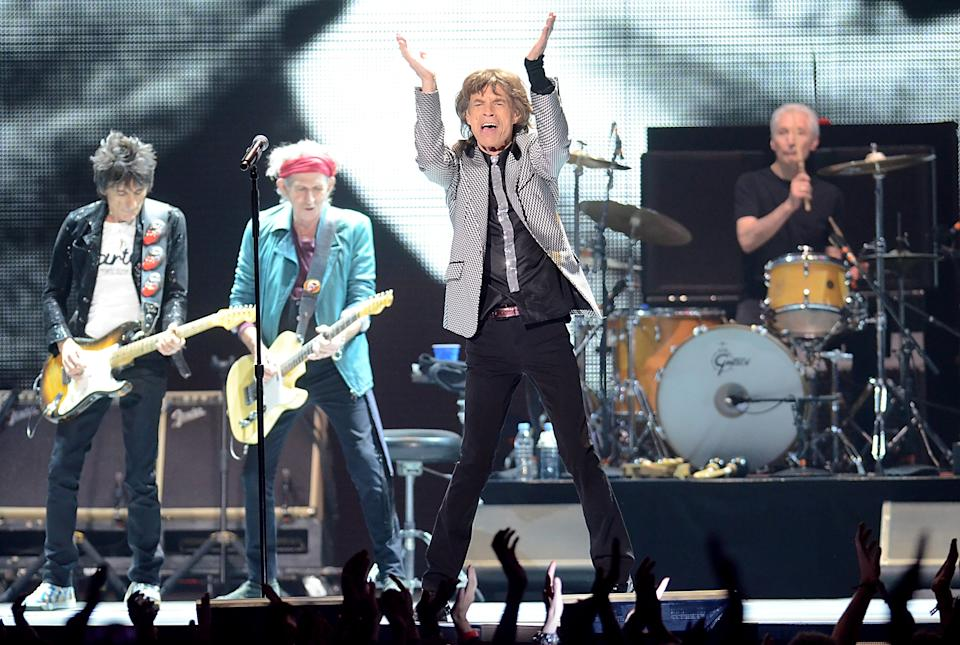 The Rolling Stones, from left, Ronnie Wood, Keith Richards, Mick Jagger and Charlie Watts perform live at the Prudential Center in Newark, NJ on Saturday, Dec. 15, 2012. (Photo by Evan Agostini/Invision/AP)