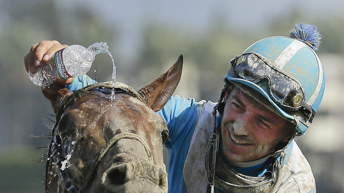 Jockey Aaron Gryder douses Calidoscopio with water after winning the Marathon horse race at the Breeders' Cup, Friday, Nov. 2, 2012, Arcadia, Calif. (AP Photo/Gregory Bull)