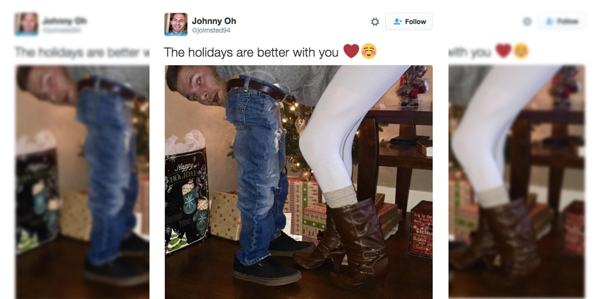 College Dude Nails Holiday Pic