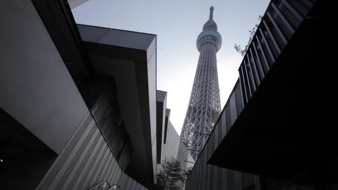The Tokyo Sky Tree soars in Tokyo Tuesday, April 17, 2012. The world's tallest freestanding broadcast structure that stands 634-meter (2,080 feet) will open to the public in May. (AP Photo/Itsuo Inouye)