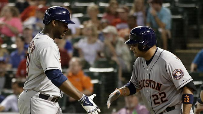 Astros hit 3 leadoff homers in 8-3 win at Texas