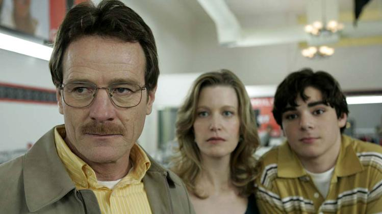 Bryan Cranston as Walter White, Anna Gunn as Skyler White and RJ Mitte as Walter White, Jr. in Breaking Bad.