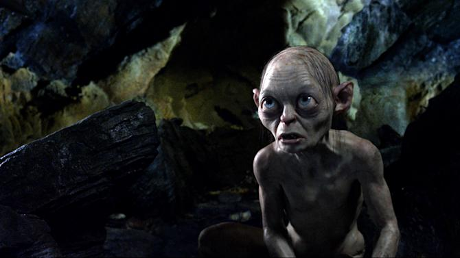 "FILE - This publicity file photo released by Warner Bros., shows the character Gollum, voiced by Andy Serkis, in a scene from the fantasy adventure ""The Hobbit: An Unexpected Journey.""  Filmmaker Peter Jackson's decision to shoot his epic three-part J.R.R. Tolkien prequel in the super-clear format that boosts the number of frames per second to 48 from the current standard, 24, has some unintended consequences. (AP Photo/Warner Bros., File)"