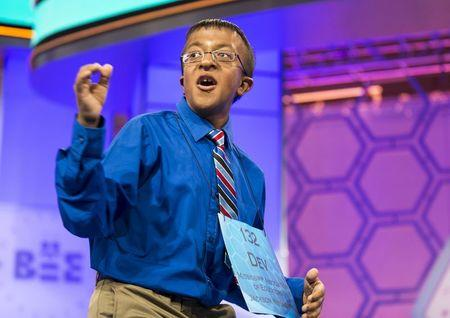"""Dev Jaiswal, of Jackson, Mississippi, reacts to spelling the word """"bacchius"""" during the final round of the 88th annual Scripps National Spelling Bee"""