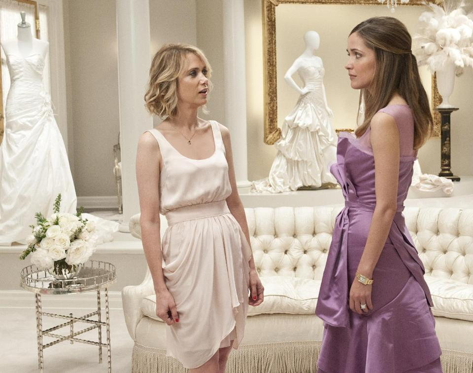 "FILE - In this publicity file photo released by Universal Pictures, Kristen Wiig, left, and Rose Byrne are shown in a scene from ""Bridesmaids."" (AP Photo/Universal Pictures, Suzanne Hanover, File)"