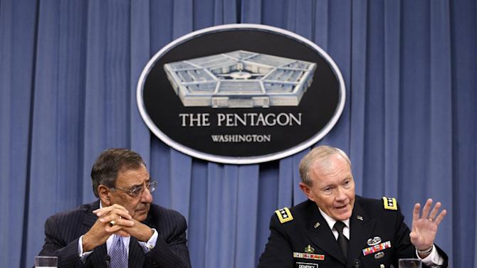Defense Secretary Leon Panetta, left, and Joint Chiefs Chairman Gen. Martin Dempsey, participate in a news conference at the Pentagon, Thursday, Sept. 27, 2012. (AP Photo/Jacquelyn Martin)
