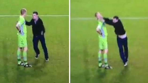 Fan attacks Chris Kirkland at Sheffield Wednesday v Leeds United (screen grab)
