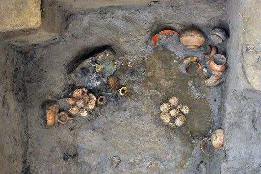 Tumba de la cultura preinca Sicán, descubierta en Lambayeque.