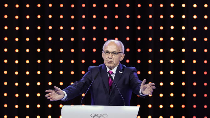 Swiss Minister of Defense and Sports Ueli Maurer speaks during the Lausanne 2020 bid presentation at the 128th International Olympic Committee session in Kuala Lumpur, Malaysia, Friday, July, 31, 2015. The IOC will choose the winning city in a vote on Friday in Kuala Lumpur. (AP Photo/Joshua Paul)