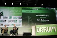 Facebook founder and CEO, Mark Zuckerberg, pictured as he is interviwed by TechCrunch Moderator Michael Arrington (L) at the TechCrunch Disrupt SF 2012 conference, on September 11, in San Francisco, in his first public interview since the massive public offering on May 18 that was hotly anticipated but ended up being a flop