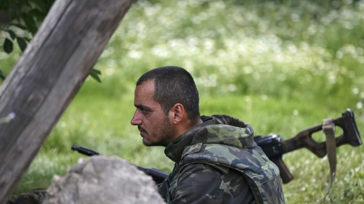 A Ukrainian soldier is pictured in the eastern Ukrainian town of Seversk