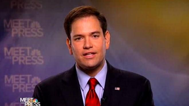 Sen. Marco Rubio on Meet the Press, one of his seven Sunday morning talk show appearances.