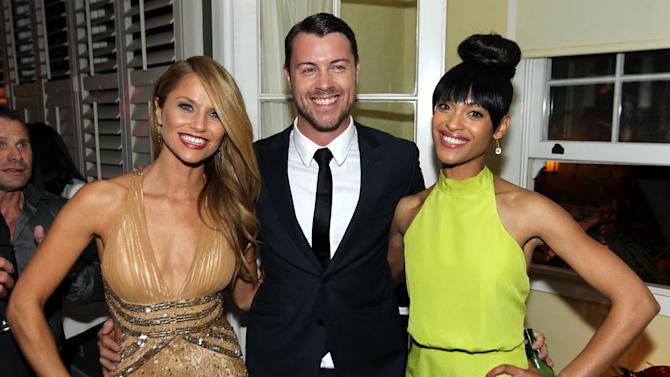 """IMAGE DISTRIBUTED FOR STARZ - Cynthia Addai-Robinson, right, Dan Feuerriegel, center, and Ellen Hollman pose together at the after party for the premiere of """"Spartacus: War of the Damned"""" on Tuesday, Jan. 22, 2013 in Los Angeles. """"Spartacus: War of the Damned"""" premieres Friday, Jan. 25 at 9PM on STARZ. (Photo by Matt Sayles/Invision for STARZ/AP Images)"""