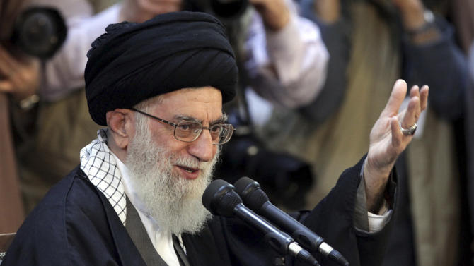 "In this picture released by an official website of the office of the Iranian supreme leader, Supreme Leader Ayatollah Ali Khamenei, gives a speech at a public gathering in the city of Mashhad, Iran, Friday, March 21, 2014. Iran's top leader says his nation can best counter sanctions imposed by the West by strengthening its economy. Khamenei said Iranians should not wait for the sanctions to be lifted but work to build a stronger economy to ""reduce vulnerability."" (AP Photo/Office of the Iranian Supreme Leader)"