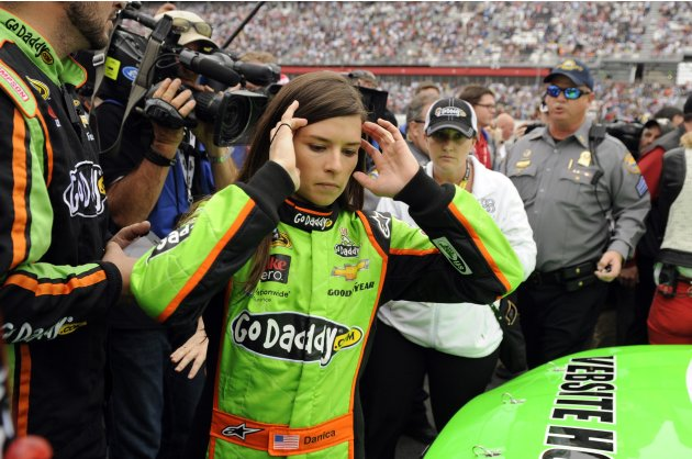 NASCAR driver Danica Patrick gets ready to race in the NASCAR Sprint Cup Series Daytona 500 race at the Daytona International Speedway in Daytona Beach