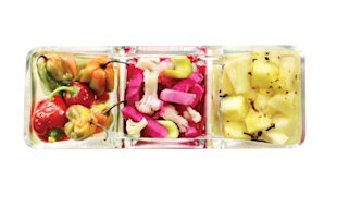Glass containers with peppers, pineapple, vegetables, Feb 13, p94