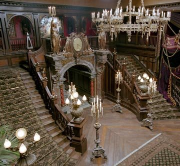The grand staircase in Walt Disney's The Haunted Mansion