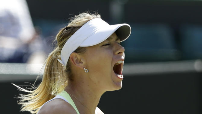 Maria Sharapova of Russia reacts during a third round women's singles against Su-Wei Hsieh of Taiwan at the All England Lawn Tennis Championships at Wimbledon, England, Friday, June 29, 2012. (AP Photo/Anja Niedringhaus)