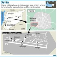 Graphic locating the military airbase at Hama in Syria. Bomb attacks hit near Damascus and air strikes pounded rebel bastions on Wednesday as international divisions were again exposed over how to end an escalating conflict now said to have killed more than 36,000 people
