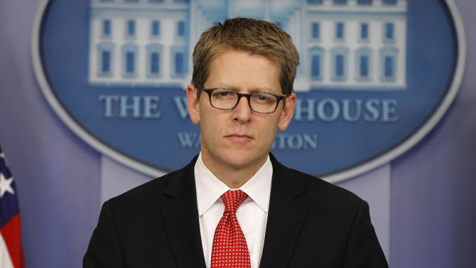 """In this Feb. 7, 2012, photo, White House press secretary Jay Carney listens during his daily news briefing at the White House in Washington. The United States appears to be out of answers on what to do with Syria. The Obama administration says it is not considering invading Syria or arming its rebels to remove President Bashar Assad from power. Diplomatic efforts at the U.N. have collapsed. """"We are working with our partners again to ratchet up the pressure, ratchet up the isolation on Assad and his regime,"""" Carney said. """"That pressure is having an impact. Ultimately, it needs to result in Assad ceasing the violence, stopping the brutality and allowing for a transition supported by the Syrian people."""" (AP Photo/Pablo Martinez Monsivais)"""