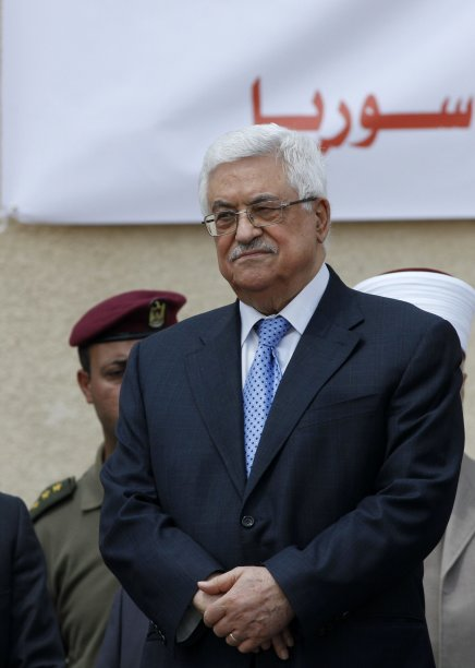 Palestinian President Abbas attends a press event in Ramallah