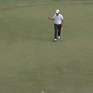 Emiliano Grillo drops in his 25-foot birdie putt at the Web.com Tour Championship