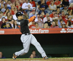 Giancarlo Stanton hit a three-run home run during the fourth inning against the Angels. (USA Today)