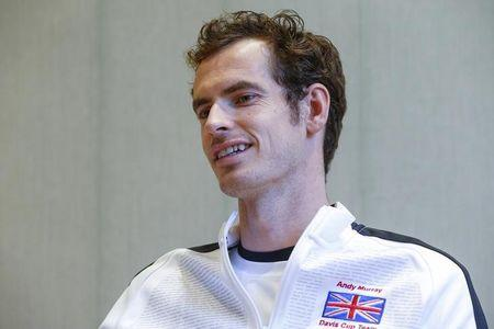 Britain's Murray smiles during an interview with Reuters Television in Ghent