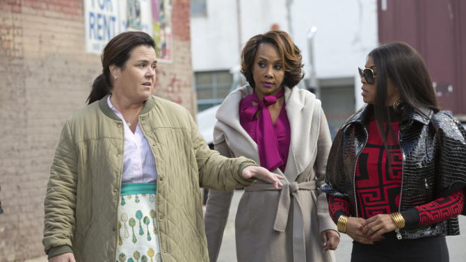 """This photo provided by Fox shows guest stars Rosie O'Donnell, from left, and Vivica A. Fox with series star Taraji P. Henson in the """"Sinned Against"""" episode of """"Empire,"""" airing Wednesday, Nov. 25, 2015, 9:00-10:00 p.m. ET/PT on Fox. (Chuck Hodes/Fox via AP)"""