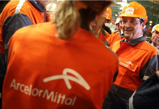 French President Hollande visits ArcelorMittal steel factory in Florange