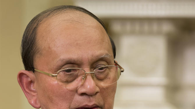 Myanmar's President Thein Sein speaks during a meeting with President Barack Obama, not pictured, in the Oval Office of the White House in Washington, Monday, May 20, 2013. Thein Sein is the first Myanmar president to be welcomed to the White House in almost 47 years. (AP Photo/Jacquelyn Martin)