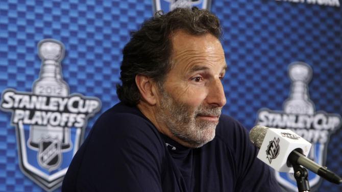 New York Rangers head coach John Tortorella talks to reporters after NHL hockey practice at Madison Square Garden in New York, Tuesday, May 22, 2012. For the third straight series, Rangers return home from a Game 4 loss and try to regain control. The Rangers have one day to regroup before they welcome the New Jersey Devils back to the Garden for Game 5 of the Eastern Conference finals Wednesday night. (AP Photo/Seth Wenig)