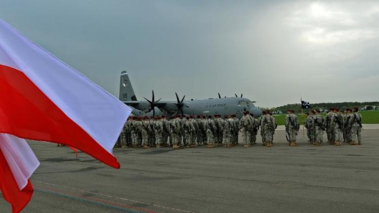 The first American troops arrive at the airport in Swidwin, Poland on April 23, 2014