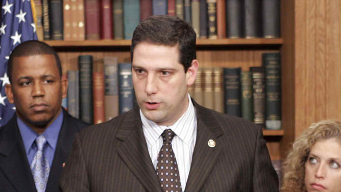 FILE - In this Feb. 14, 2007 file photo, Rep. Tim Ryan, D-Ohio, speaks at a news conference in Washington. Ryan on Wednesday, Jan. 28, 2015, publicly declared a position switch on abortion. Niles in northeast Ohio, writes Wednesday in the Akron Beacon Journal that he initially opposed the procedure that ends pregnancy but now favors abortion rights.  (AP Photo/Susan Walsh, File)
