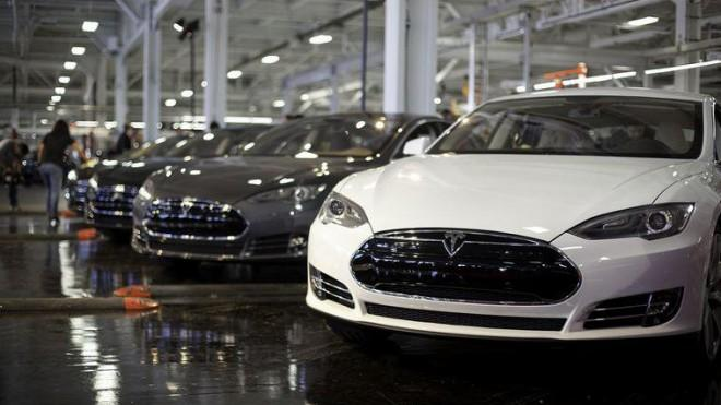 Tesla Model S cars await final inspection before leaving the factory.