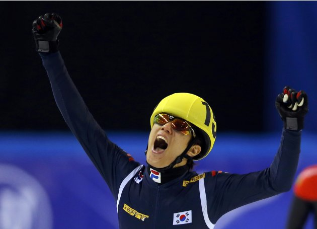 Sin of South Korea celebrates his victory at the men's 1500m finals during the ISU World Short Track Speed Skating Championships in Debrecen