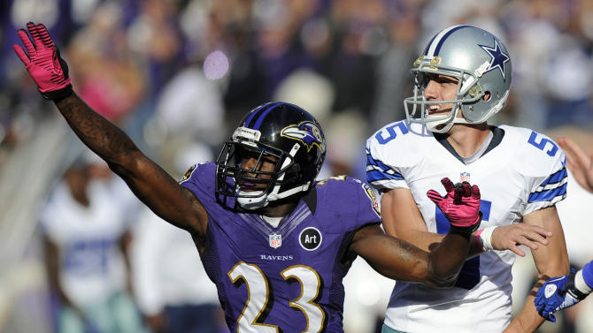 Baltimore Ravens defensive back Chykie Brown (23) reacts in front of Dallas Cowboys kicker Dan Bailey after Bailey missed a field goal attempt in the second half of an NFL football game in Baltimore, Sunday, Oct. 14, 2012. Baltimore won 31-29. (AP Photo/Nick Wass)