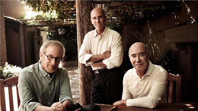 "This undated publicity photo released by DreamWorks Animation SKG Inc. shows Steven Spielberg, left, Jeffrey Katzenberg and David Geffen, right, whose last names represent the ""SKG"" in DreamWorks Animation SKG Inc., said Tuesday, Oct. 16, 2012, they are donating $30 million each to the Motion Picture and Television Fund. (AP Photo/DreamWorks Animation SKG Inc., Art Streiber)"
