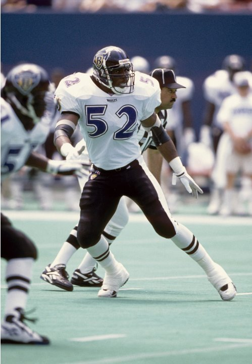 Aug 10, 1996; E. Rutherford, NJ, USA; FILE PHOTO; Baltimore Ravens linebacker Ray Lewis (52) in action against the New York Giants at Giants Stadium. Mandatory Credit: USA TODAY Sports