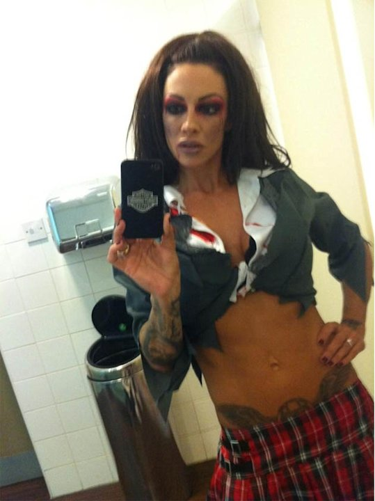 Jodie Marsh dressed as a sexy schoolgirl for Halloween. Copyright [Jodie Marsh]
