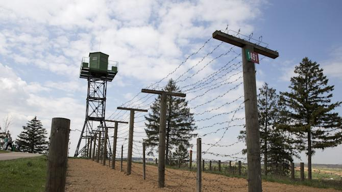 """Part of the """"Stalin Line"""" memorial, where collected samples of military equipment from the time of the World War Two to the present day are displayed, is seen near the village of Goroshki"""