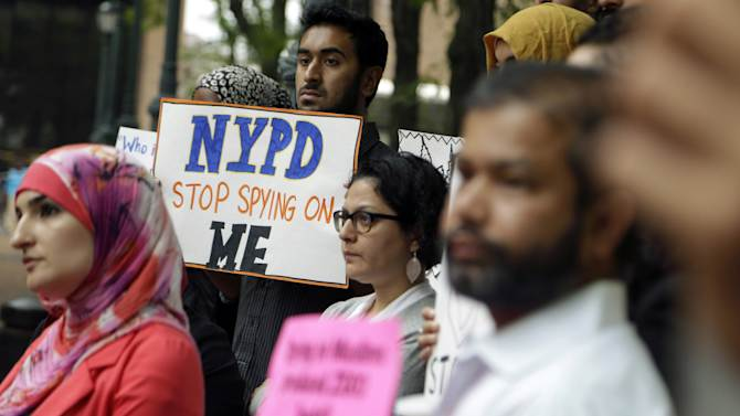 protesting the NYPD's program of infiltrating and informing on Muslim communities