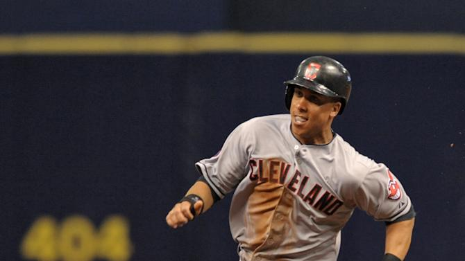 Cleveland Indians' Michael Brantley races toward third base during a baseball game against the Tampa Bay Rays Monday, June 29, 2015, in St. Petersburg, Fla. (AP Photo/Steve Nesius)