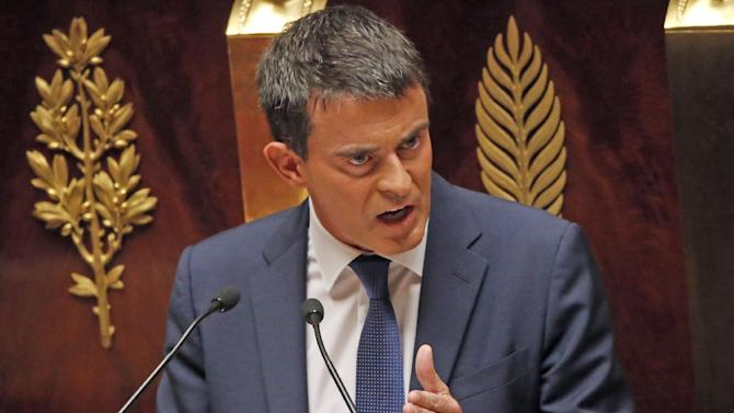 French Prime Minister Manuel Valls delivers his speech at the National Assembly in Paris, France, Tuesday, Sept. 16, 2014. France's prime minister faces a confidence vote in a parliament increasingly frustrated with unpopular President Francois Hollande's handling of the economy, including dissidents within his Socialist Party. (AP Photo/Francois Mori)