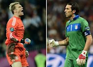A combination of pictures made on June 25, 2012 shows German goalkeeper Manuel Neuer (L) celebrating during the Euro 2012 football championships quarter-final match Germany vs Greece on June 22, 2012 at the Gdansk Arena and Italian goalkeeper Gianluigi Buffon celebrating during the penalty shoot out of the Euro 2012 football championships quarter-final match England vs Italy on June 24, 2012 at the Olympic Stadium in Kiev. Germany will face Italy for the Euro 2012 football championships semi-final on June 28 in Warsaw.       AFP PHOTO/ ARIS MESSINIS/ GIUSEPPE CACACE