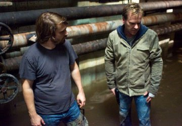 Director Alexandre Aja and Kiefer Sutherland on the set of 20th Century Fox's Mirrors