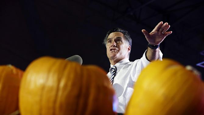 Republican presidential candidate and former Massachusetts Gov. Mitt Romney speaks at a campaign event at Metropolitan Park in Jacksonville, Fla., Wednesday, Oct. 31, 2012. (AP Photo/Charles Dharapak)