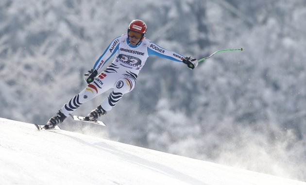 Ferstl of Germany jumps during the men's Downhill event of the Alpine Skiing World Cup downhill ski race in Garmisch-Partenkirchen