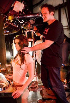 Quentin Tarantino directs Vanessa Ferlito in the &quot;Death Proof&quot; segment of Dimension Films' Grindhouse