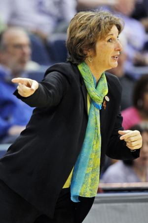 Texas head coach Gail Goestenkors direct her team during the first half of a first-round NCAA tournament women's college basketball game against West Virginia in Norfolk, Va., Saturday, March 17, 2012. (AP Photo/Steve Helber)